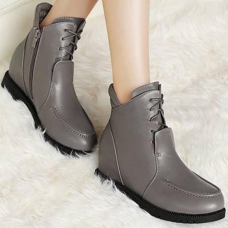 古奇天伦秋冬季新款圆头防水台短筒女靴平底马丁靴潮短靴内增高靴子女鞋