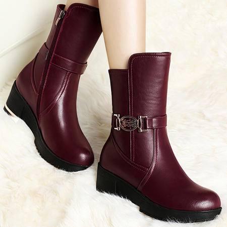 古奇天伦秋季新品圆头防水台中筒马丁靴时尚加绒保暖短筒坡跟女靴短靴