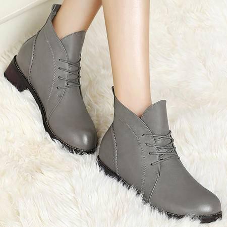 古奇天伦秋季新款英伦风系带女靴加绒保暖女鞋马丁靴女粗跟低跟鞋短靴