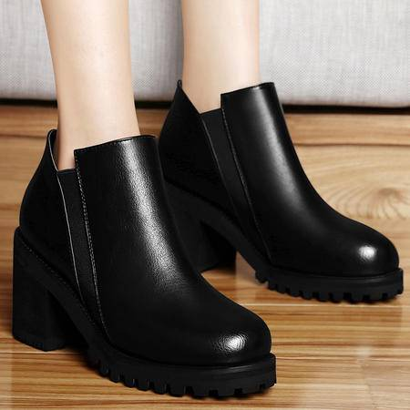 古奇天伦秋冬新品粗跟裸靴中跟女靴子套脚马丁靴潮女短靴防水台女鞋