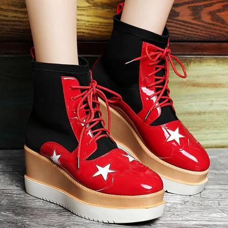 古奇天伦平底马丁靴女弹力布短靴学生星星鞋厚底女靴子套脚松糕鞋休闲鞋