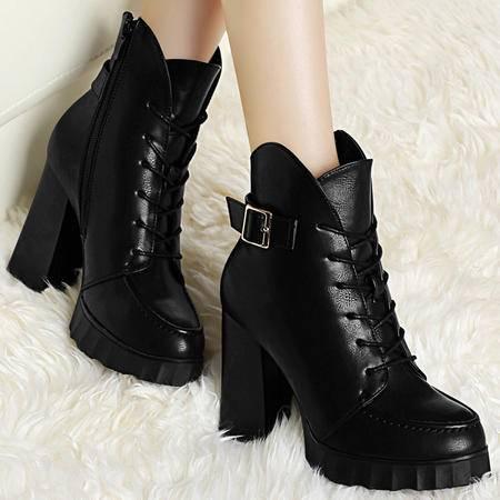 古奇天伦秋季新款粗跟高跟女靴厚底防水台马丁靴金属扣系带女鞋子