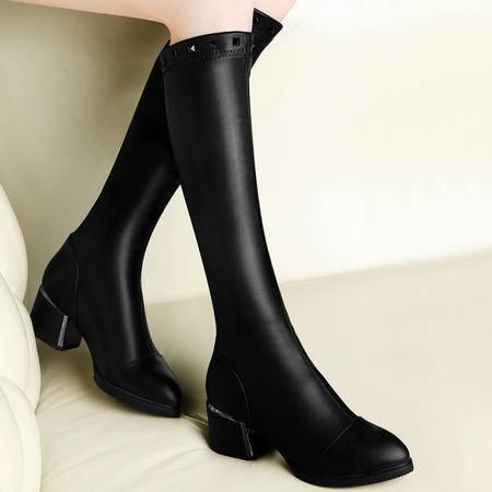 古奇天伦秋冬新款过膝长靴女粗跟长筒靴女瘦腿弹力靴高跟女靴子潮铆钉女鞋