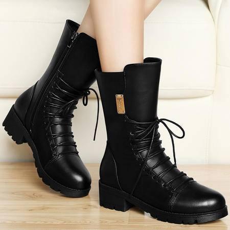 古奇天伦秋季新品时尚短筒女靴圆头粗跟短靴厚底防水台马丁靴加绒保暖女鞋