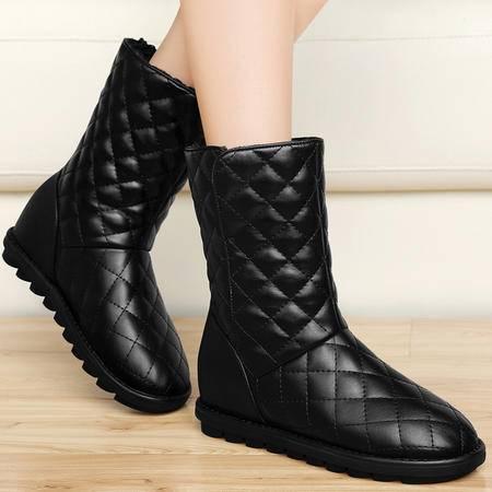 古奇天伦秋季新品平底雪地靴时尚加绒保暖短靴欧美内增高短筒女靴子圆头女鞋