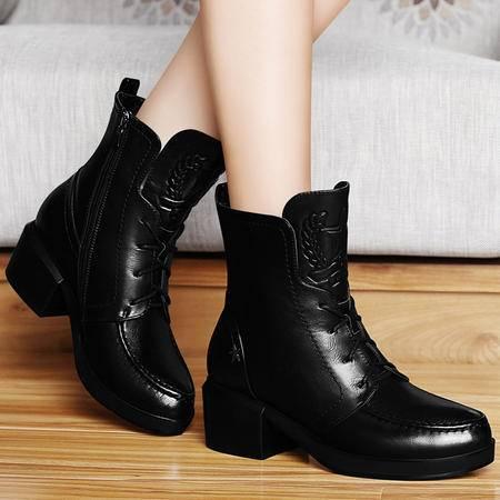 古奇天伦秋冬新款防水台女鞋加绒保暖女靴粗跟高跟马丁靴短靴短筒女靴子