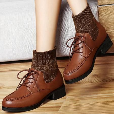 古奇天伦女鞋秋冬系带休闲鞋时尚针织加绒保暖粗跟短靴复古防水台女靴子