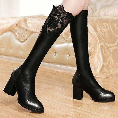 古奇天伦冬季新款蕾丝高跟女靴长筒女靴子圆头防水台女鞋过膝女靴子