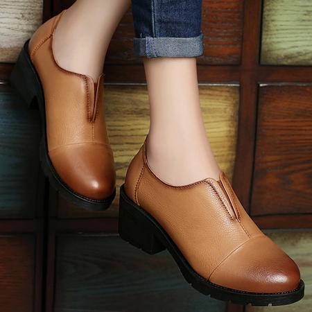 古奇天伦秋款英伦厚底高跟鞋子单鞋真皮粗跟单鞋女休闲鞋套脚女鞋
