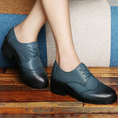 古奇天伦秋季新款英伦系带低帮鞋休闲鞋女粗跟单鞋时尚真皮高跟鞋子