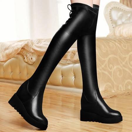 古奇天伦女鞋秋冬内增高过膝长靴平底坡跟长靴防水台女靴厚底骑士靴