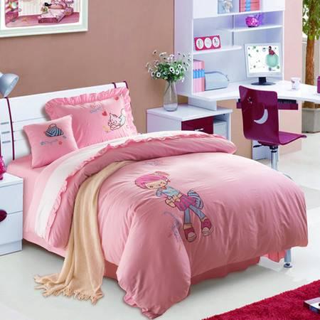 逸轩家纺 儿童纯棉绣花卡通床单四件套 适用床宽1.2M-1.35M