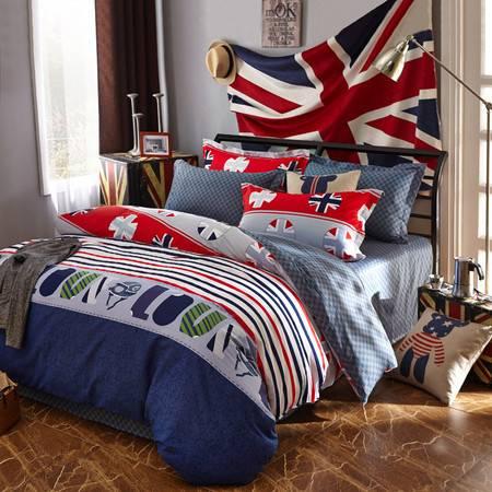 逸轩家纺 高支全棉斜纹双人 纯棉印花床单四件套被套200*230 索菲格 1.5米/1.8米床用