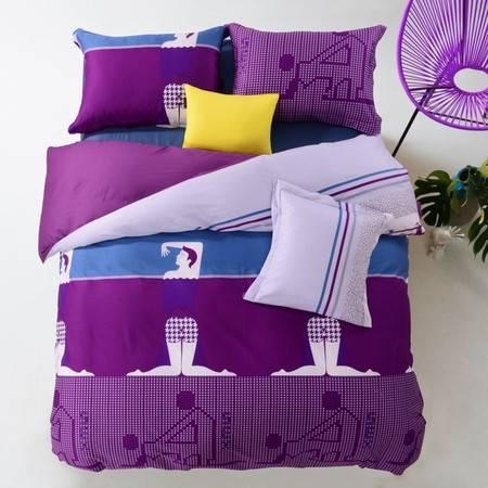 逸轩家纺 个性情趣床上套件 全棉活性印花四件套
