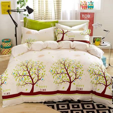 逸轩家纺 全棉床上四件套斜纹条纹简约 纯棉被套床单式1.8m-2.0m床适用