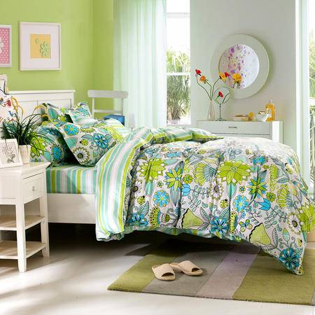 逸轩家纺全棉田园简约床单式4件套新品套件被套200*230  1.5米/1.8米床使用