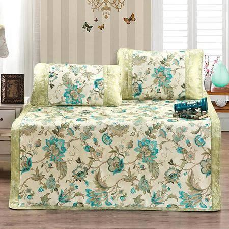 逸轩家纺 加厚透气印花可折叠冰丝席子空调席三件套单双人凉席套件1.8米