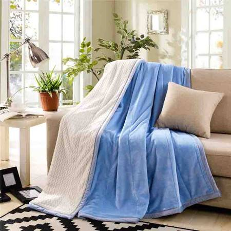 逸轩家纺 加厚双层绒毯子办公室沙发法兰绒盖毯休闲素色贝贝绒毯180*200