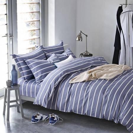 逸轩 床品套件 全棉条纹简约北欧纯棉四件套1.5米/1.8米床用被套200*230cm