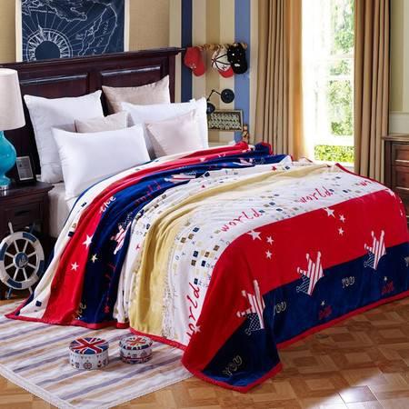 逸轩家纺  四季毯子法兰绒保暖床单舒柔亲肤毯200*230CM