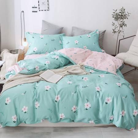 逸轩家纺全棉田园简约床单式4件套新品套件被套200*230cm  1.5米/1.8米床使用
