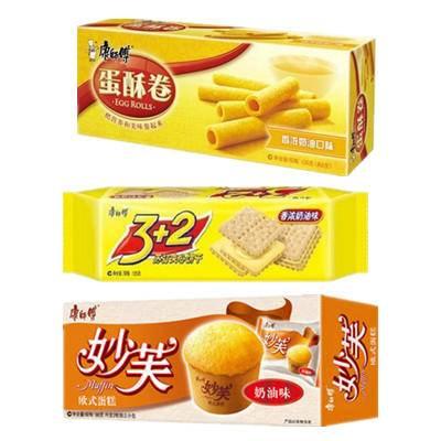 美味齐分享组合 康师傅饼干蛋糕蛋酥卷各一盒共329g