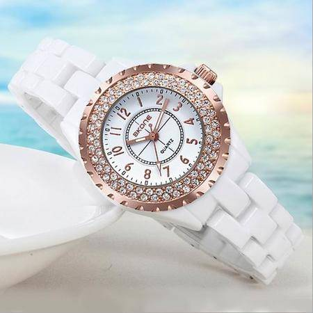 SKONE时尚女式镶钻时装白色陶瓷手表