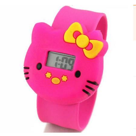 Q版卡通Hello Kitty儿童电子卷尺拍拍手表果冻色儿童表