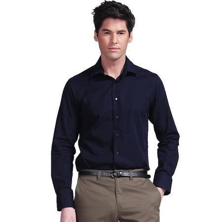 Lesmart莱斯玛特男装绅士纯色长袖衬衫 深蓝色上班族商务休闲衬衣 SL136102