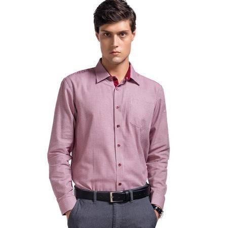 Lesmart莱斯玛特 男士新款男士格子长袖衬衫男装长袖修身休闲千鸟格衬衫SW13391