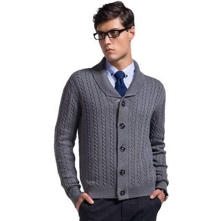 Lesmart莱斯玛特 男士针织翻领开衫韩版外套毛衣加厚纯棉针织衫CW13561