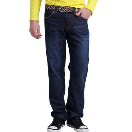 Lesmart莱斯玛特男装新款水洗磨白直筒牛仔裤 热卖男士纯棉牛仔长裤 LW13354