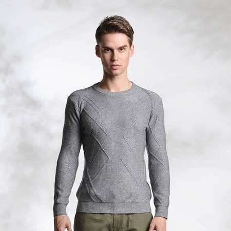 lesmart莱斯玛特新款男士针织衫 男士针织套头衫时尚休闲 潮男休闲修身针织独特花纹CW15122