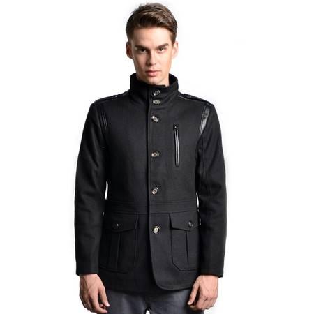 Lesmart 莱斯玛特 新款男士高品质休闲羊毛呢大衣男pu拼接中长款男士立领外套MDFY22332