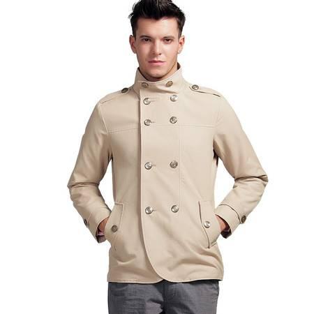 莱斯玛特 男士新款风衣男装双排扣军旅外套带肩章休闲短款风衣时尚薄款 外套MDFY1203
