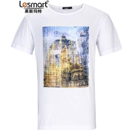 Lesmart 莱斯玛特 新款男士纯棉时尚印花修身圆领T恤TKS1603