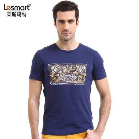 Lesmart 莱斯玛特 新款男士纯棉复古文化印花修身圆领T恤TZS1631