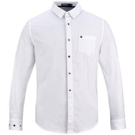 LESMART 莱斯玛特男士衬衣长袖修身韩版 小清新刺绣修身衬衣纯色纯棉青年男衬衣MH1690