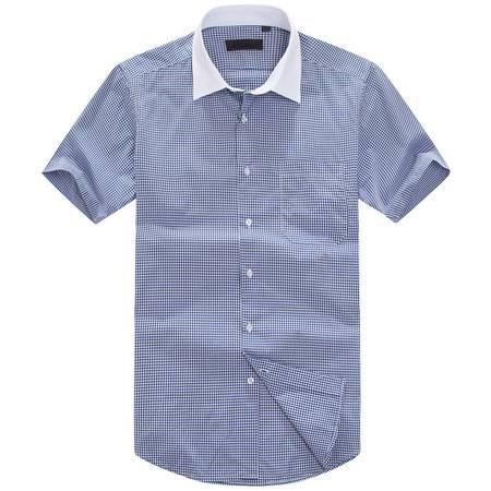 萨托尼新品全棉修身款男士商务休闲短袖衬衫11164144