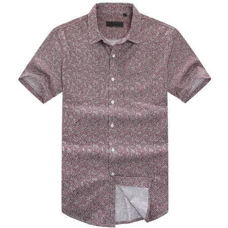 萨托尼新品全棉修身款男士商务休闲短袖衬衫11147126
