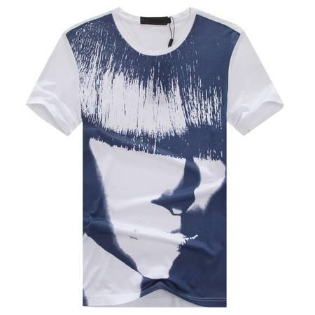 萨托尼夏季全棉休闲圆领短袖T恤新款修身款12260120