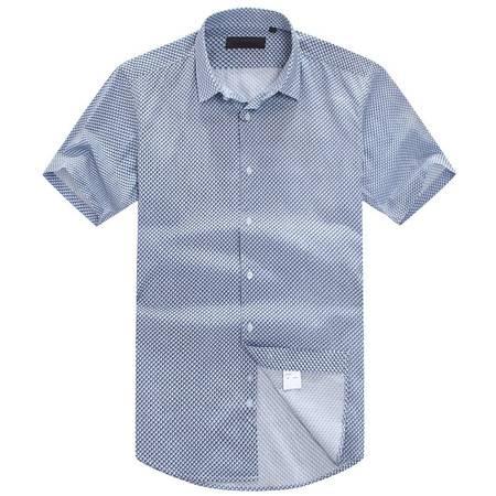 萨托尼新品全棉修身款男士商务休闲短袖衬衫11126167