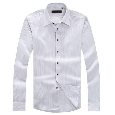 萨托尼春夏新品全棉白色细条纹衬衫修身剪裁10239088