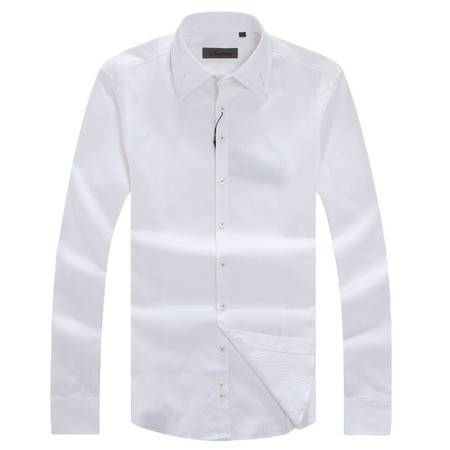 萨托尼正品白色简洁修身全棉长袖衬衫10215020