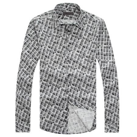 萨托尼专柜正品全棉休闲修身款长袖衬衫10218062
