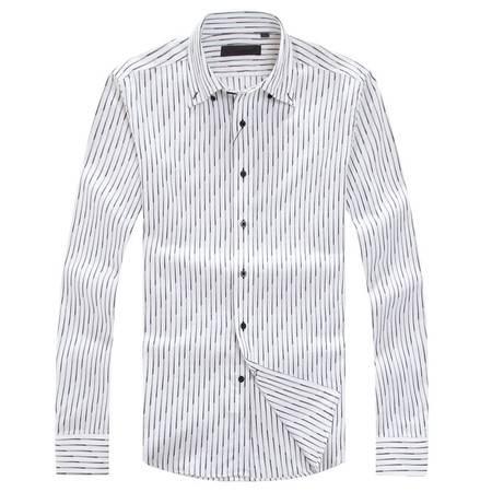 萨托尼春夏新品全棉灰色细格衬衫修身剪裁10242088