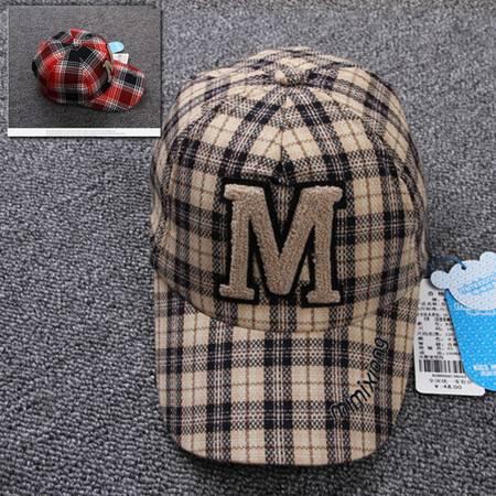 咪咪熊童装配饰 男童鸭舌帽英伦格子帽 儿童遮阳帽棒球帽子82W043