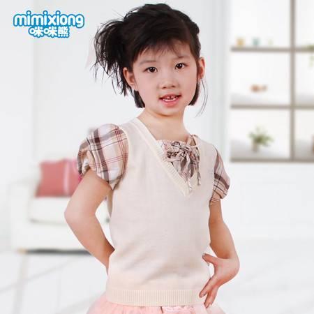 咪咪熊童装 夏装2016新款女童短袖T恤 儿童抹胸英伦纯棉上衣63S003