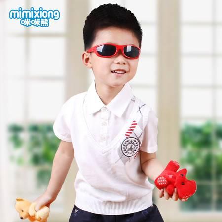咪咪熊童装 2016夏装新款男童纯棉短袖T恤 儿童修身衬领假两件上衣63S005