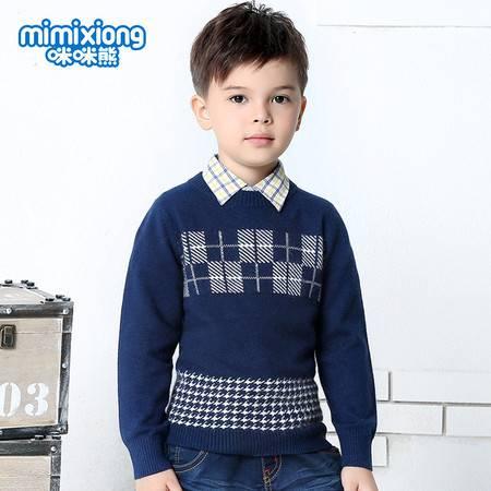 咪咪熊 童装2016秋冬新款男童圆领套头条纹羊绒衫82W153